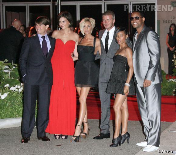 Tom Cruise aux côtés de son ex-femme Katie Holmes. Ainsi que de ses amis, Victoria et David Beckham et la famille Smith.