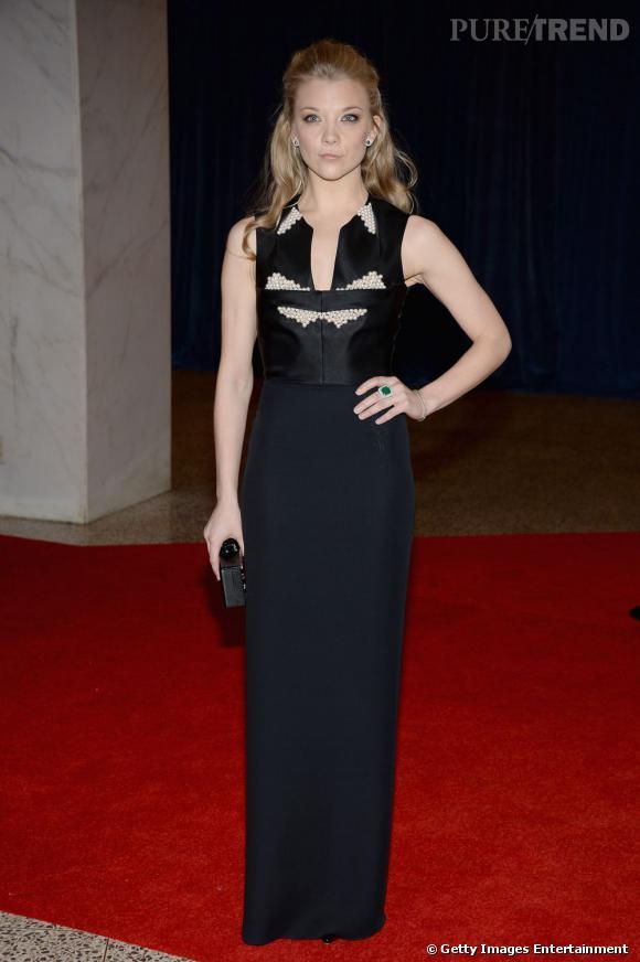 "L'actrice de ""Game Of Thrones"", Natalie Dormer, porte une robe Marios Schwab, collection Hiver 2011."