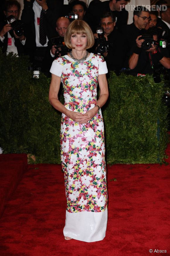 """Anna Wintour choisit une robe Chanel fleurie au MET Ball 2013, """"Punk : Chaos to Couture""""."""