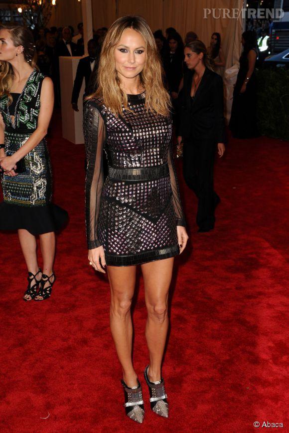 """Stacy Keibler porte une robe Rachel Roy et des bijoux Jacob & Co au MET Ball 2013, """"Punk : Chaos to Couture""""."""