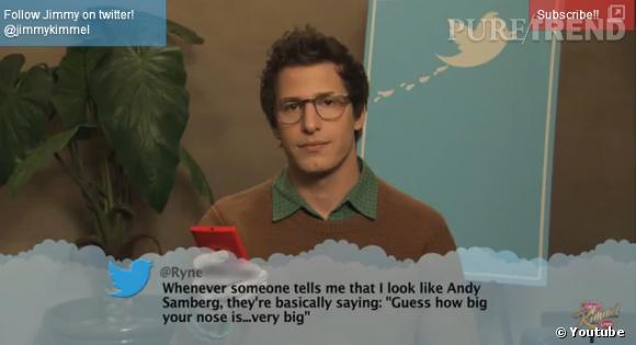 Andy Samberg se fait attaquer sur son physique... principalement concernant son nez.