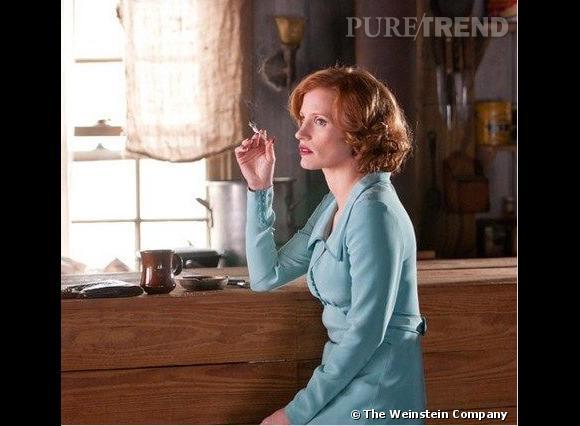"""Jessica Chastain : ses coiffures au cinéma    Jessica Chastain, chic dans """"Des hommes sans loi""""."""