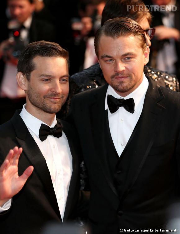 Leonardo Dicaprio et Tobey Maguire, très élégants à la cérémonie d'ouverture du Festival de Cannes 2013.