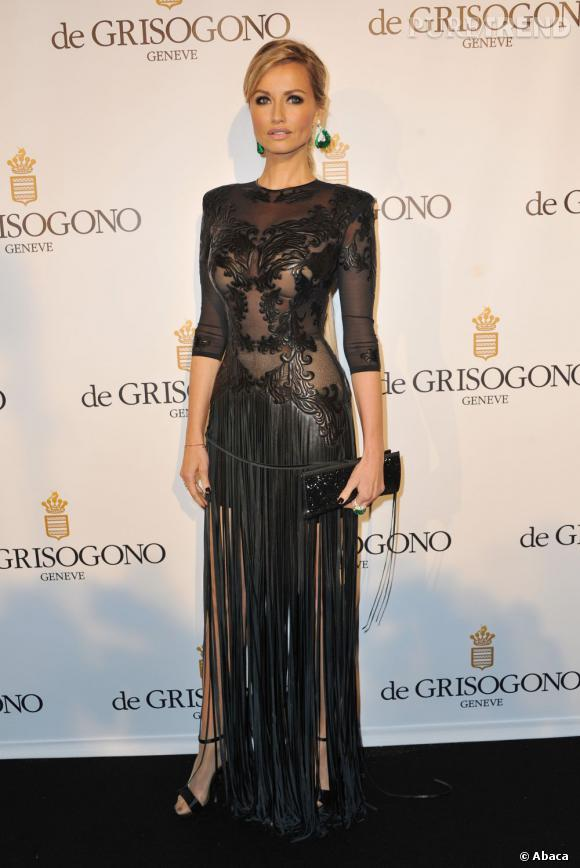 Adriana Karembeu en cuir sexy pour la soirée De Grisogono, au Festival de Cannes, le 21 mai 2013.