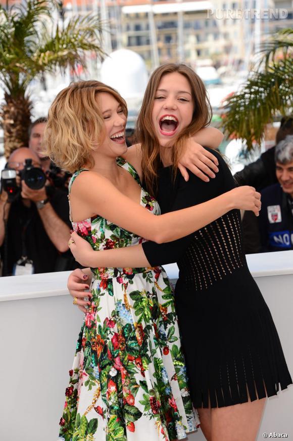"""Léa Seydoux et Adèle Exarchopoulos pour """"La vie d'Adèle"""" à Cannes 2013 : deux actrices très complices."""