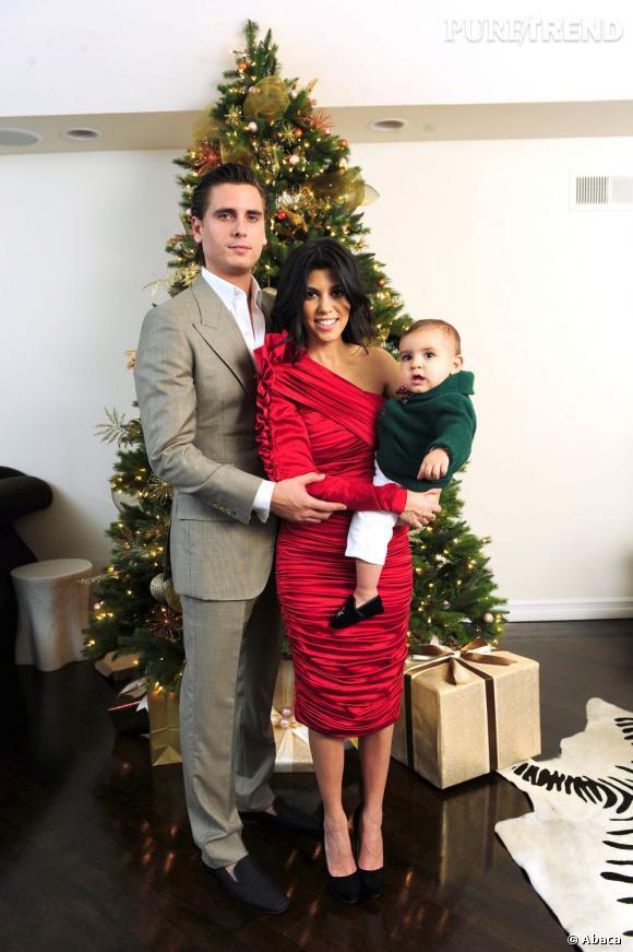 Scott Disick, Kourtney Kardashian et bébé Mason pour Noël 2010.