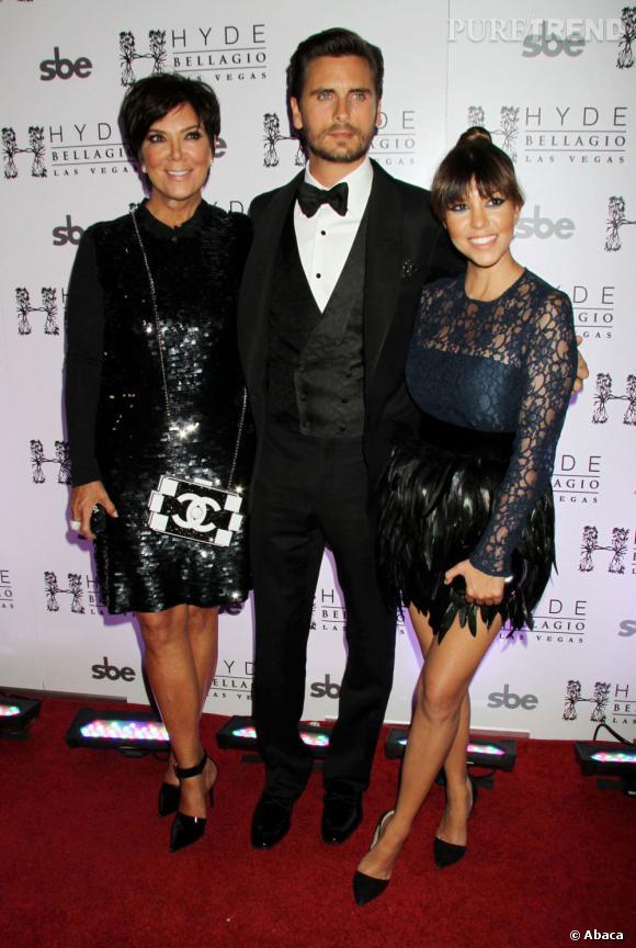 """Kris Jenner, Scott Disick et Kourtney Kardashian à l'hôtel Hyde Bellagio pour fêter les 30 ans du """"Lord""""."""