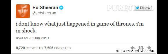 """A en juger par son twitter lors de l'épisode 9 de la saison 3 Ed Sheeran préfère """"Game of Thrones""""."""