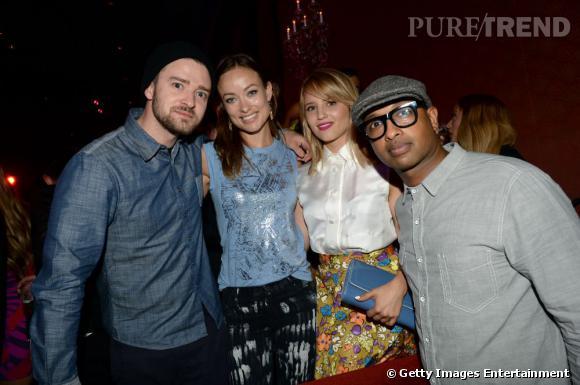 Justin Timberlake, Olivia Wilde, Dianna Agron et Kenna à la soirée de lancement de la nouvelle version de Myspace à Los Angeles.