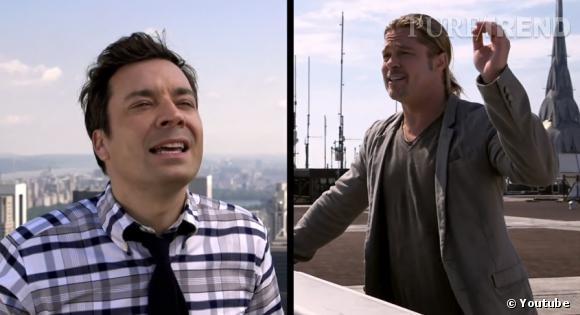 """Brad Pitt et Jimmy Fallon font un duo surprenant et hilarant de yodel pour """"World War Z""""."""