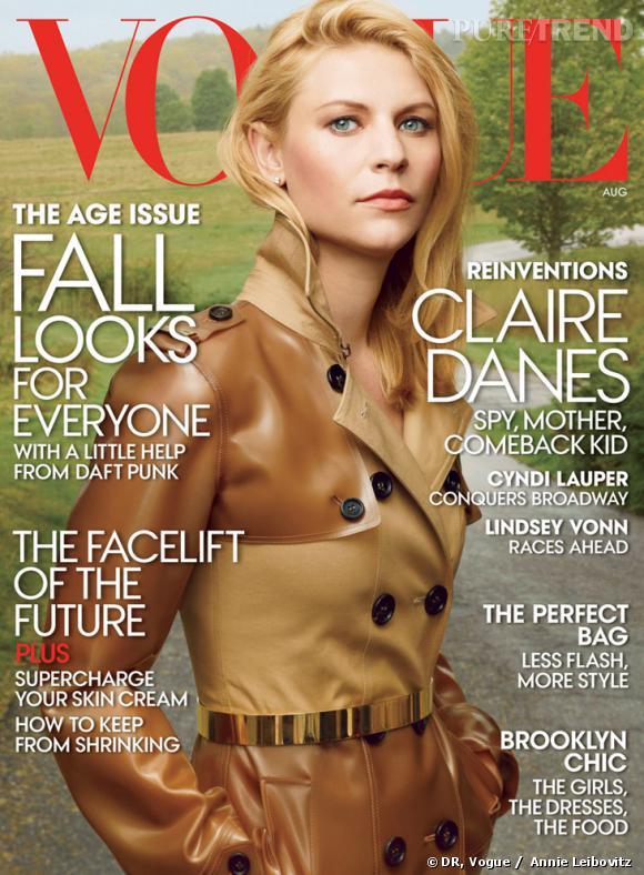 Claire Danes photographiée par Annie Leibovitz pour la couverture de Vogue us pour août 2013.