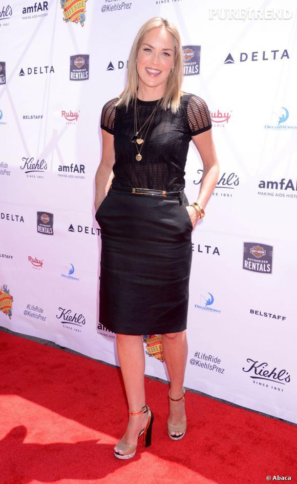 Sharon Stone était jeudi 8 août à Los Angeles afin de participer à un événement caritatif organisé par Kiehl's.