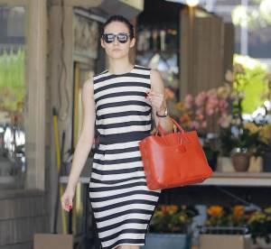 Emmy Rossum, la robe a rayures dangereuses... A shopper !