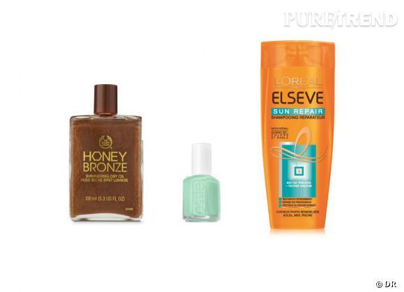 Le vanity estival d'Aurélie (Stars, spécialiste Séries) :   L'huile sèche effet lumière Body Shop pour des jambes pailletés qui sentent bon l'été. Le shampoing L'Oréal Sun Repair pour chouchouter les cheveux après le soleil/chlore et le vernis Essie Mint Candy Apple, le pastel parfait !