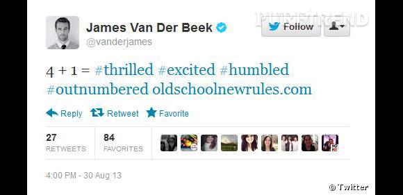 James Van der Beek partage la nouvelle avec ses followers sur twitter.