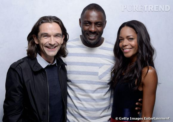 Le réalisateur Justin Chadwick, Idris Elba et Naomie Harri à Toronto.