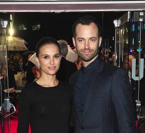 """Natalie Portman et Benjamin Millepied lors de l'avant-première de """"Thor : Le Monde des Ténèbres"""" à Londres."""