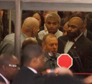 Chris Brown a la sortie du tribunal de Washington.
