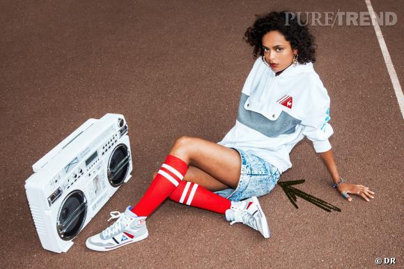 Cet Automne-Hiver le jean se porte comme chezLe Coq Sportif en short délavé style rétro et sporty Lookbook AW 13/14