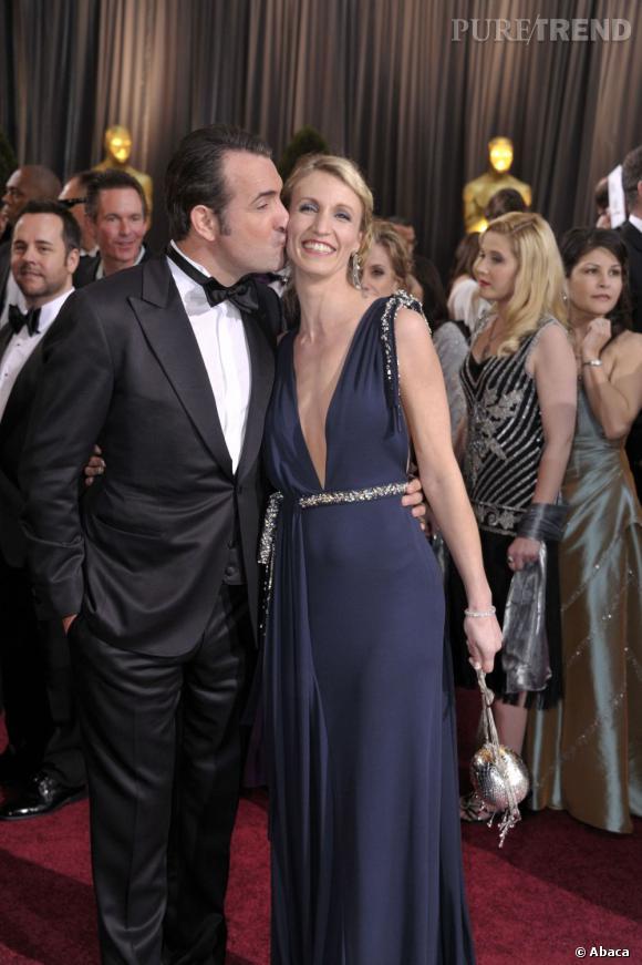 Jean Dujardin et Alexandra Lamy lors des Oscars en février 2012.