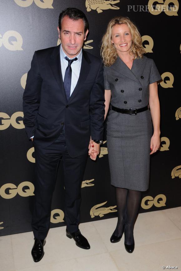 Alexandra Lamy en robe chic et Jean Dujardin toujours très charmeur lors de la soirée GQ.