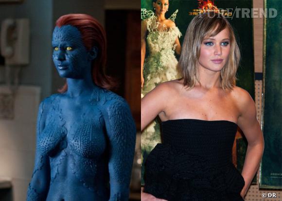 """Jennifer Lawrence a droit à une transformation impressionnante dans les différents volets """"X-Men"""", pour son rôle de Mystique."""