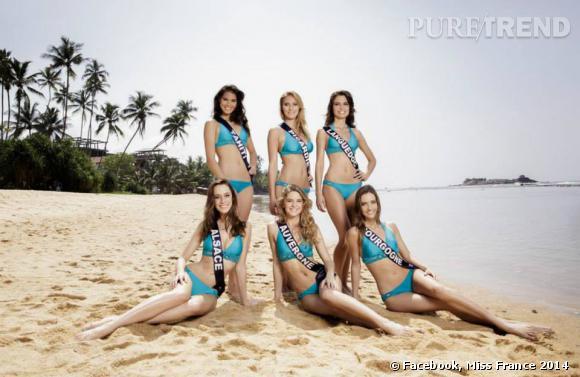 Les candidates Miss France en plein shooting maillot de bain.