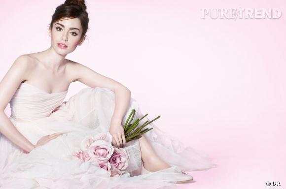 Lily Collins divine ballerine pour le maquillage Lancôme du printemps prochain.