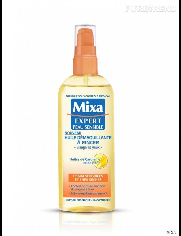 """Marre du démaquillage qui """"arrache"""" ? De la sensation de peau qui tire après le nettoyage du soir ? Il vous faut l'huile démaquillante Mixa. Deux pressions sur la pompe et à vous le nettoyage impeccable grâce à la douceur de l'huile. Le tout à prix mini. Huile Démaquillante Mixa - 5,59€ le flacon pompe de 150ml."""