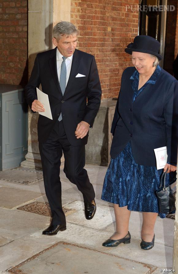 Jessie Webb, l'ancienne nounou des Princes William et Harry, et Michael Middleton, le père de Kate Middleton lors du baptême du Prince George.