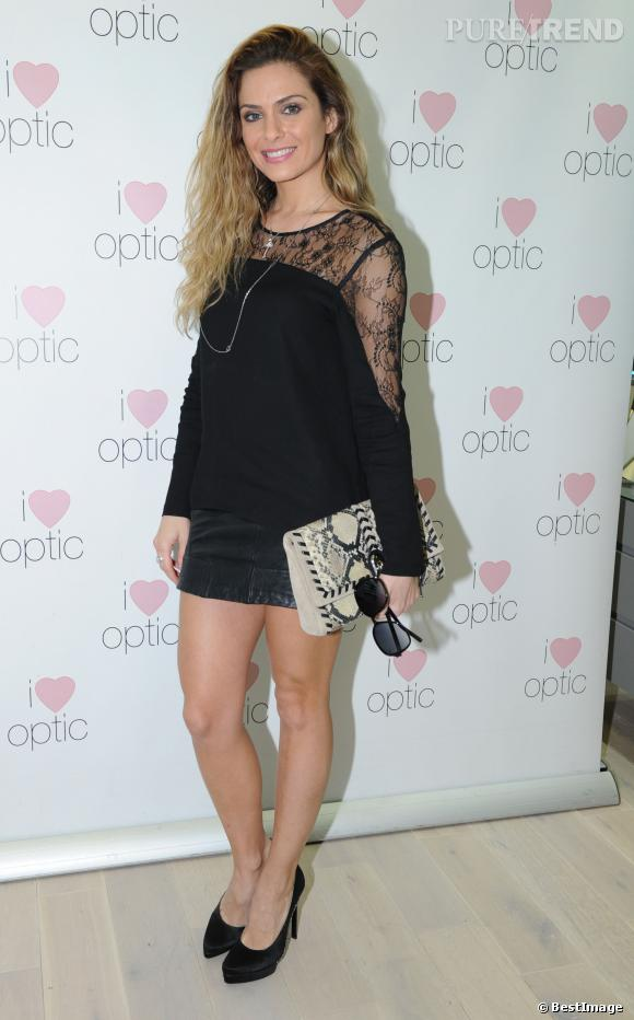 "Clara Morgane, sexy en dentelle pour la boutique ""I Love Optic""."