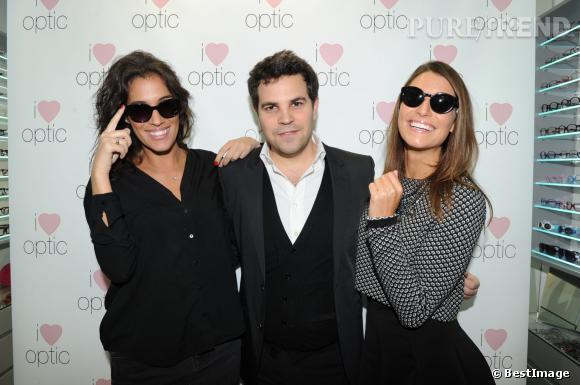 """Laurie Cholewa, Jonathan Koskas et Laury Thilleman à l'inauguration de la boutique """"I Love Optic""""."""