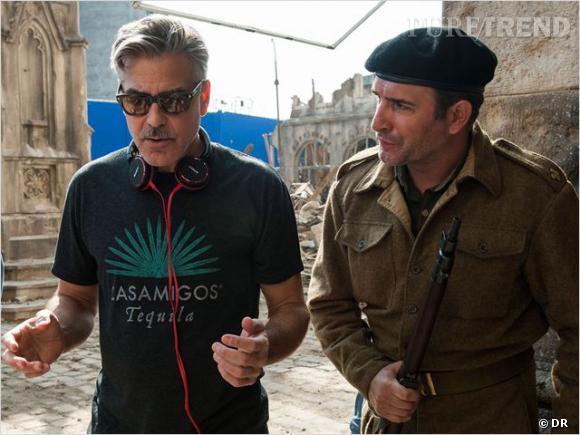 """Jean Dujardin et George Clooney sur le tournage de """"Monuments Men""""."""