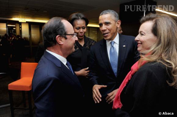 Michelle Obama, Barack Obama, François Hollande et Valérie Trierweiler lors d'une précédente rencontre.