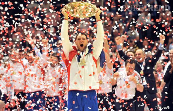Jérôme Fernandez, capitaine heureux de l'équipe de France de handball.