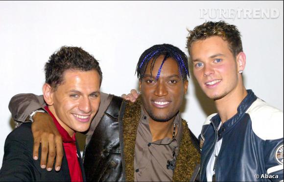 Matt Pokora et son groupe les Linkup, en 2003, mèches blondes et cheveux plein de gel.