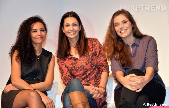 Emma Daumas aux côtés d'Aida Touihri et d'Adeline Blondieau, hier à l'élection du Bébé Cadum 2014.