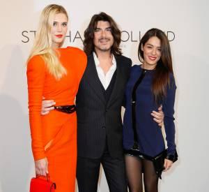 Sofia Essaïdi et sa mini-robe au défilé Stéphane Rolland Haute Couture Printemps-Eté 2014, aux côtés du créateur Stéphane Rolland et Gaia Wess.