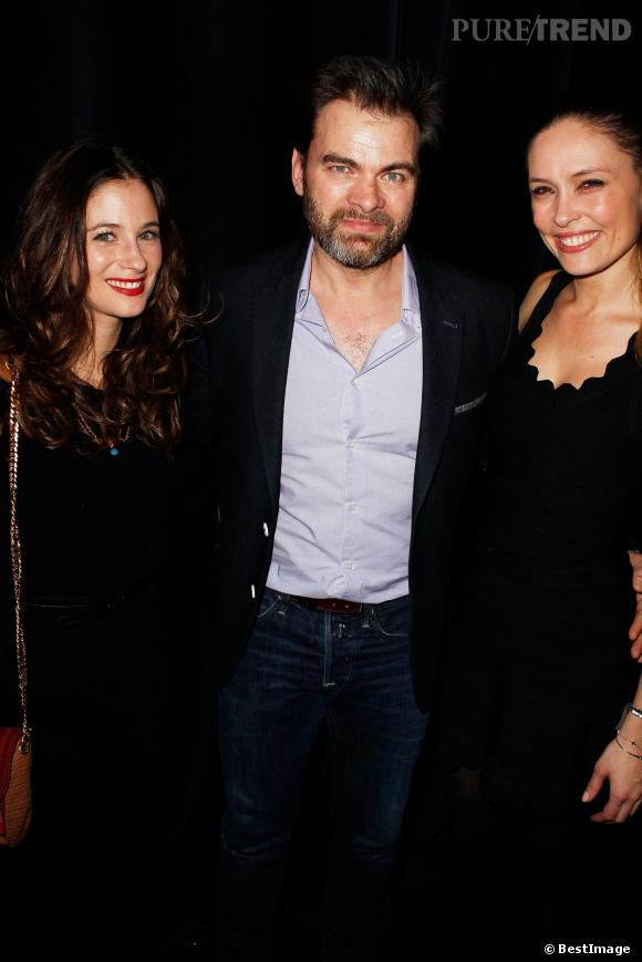 """Clovis Cornillac, sa femme, Lilou Fogli, et Mélanie Bernier, à la générale de """"Jupe Obligatoire"""", lundi soir au théâtre du Gymnase."""