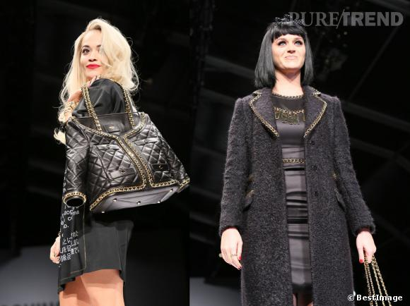 Rita Ora et Katy Perry défilent pour Moschino à la Fashion Week de Milan Automne-Hiver 2014/2015 le 20 février.