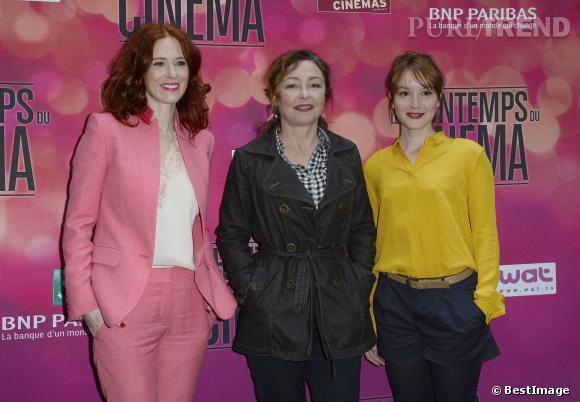 Audrey Fleurot, Catherine Frot et Anaïs Demoustier à la conférene de presse pour le Printemps du Cinéma 2014 à Paris.