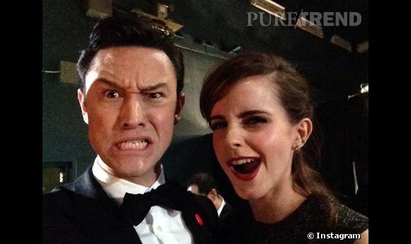 Joseph Gordon-Levitt et Emma Watson dans les coulisses des Oscars 2014, c'est collector !