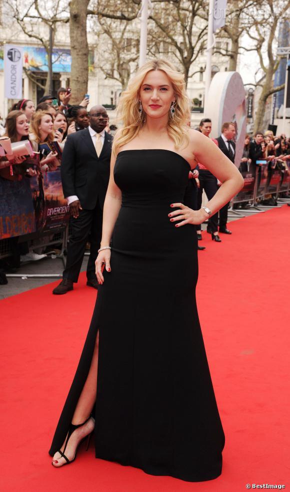 """Kate Winslet porte une robe  Jenny Packham élégante et sexy pour la première de """"Divergent"""" à Londres, le 30 mars 2014."""