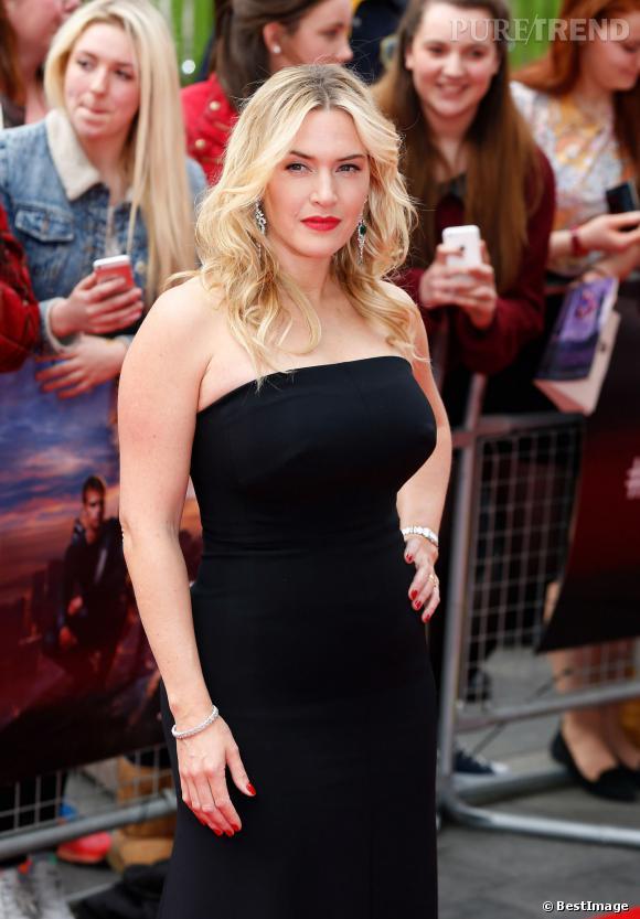 """Kate Winslet, des courbes affolantes pour la première de """"Divergent"""" à Londres."""