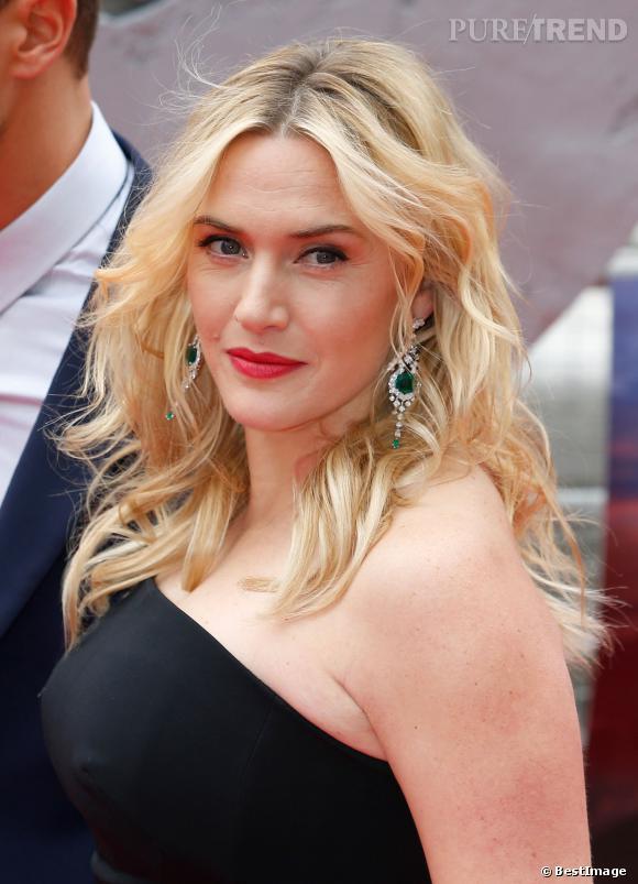 """Kate Winslet, l'actrice à la beauté naturelle et à la ligne parfaite après son accouchement, le 30 mars 2014 à la première de """"Divergent""""."""