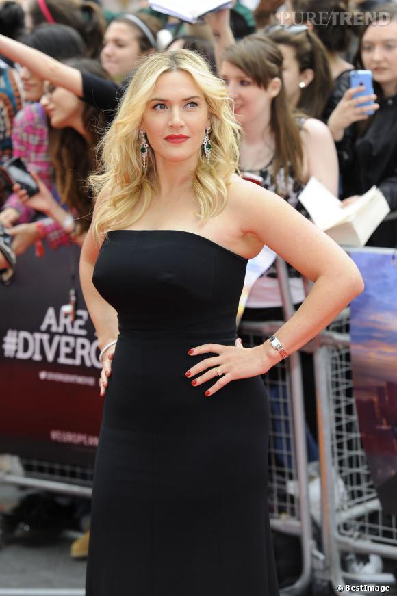 """Kate Winslet, divine et pulpeuse sur le tapis rouge de la première de """"Divergent"""" à Londres, le 30 mars 2014."""
