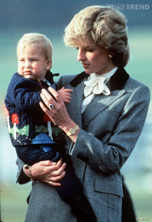 Le Prince William et Lady Di en Ecosse en 1983.