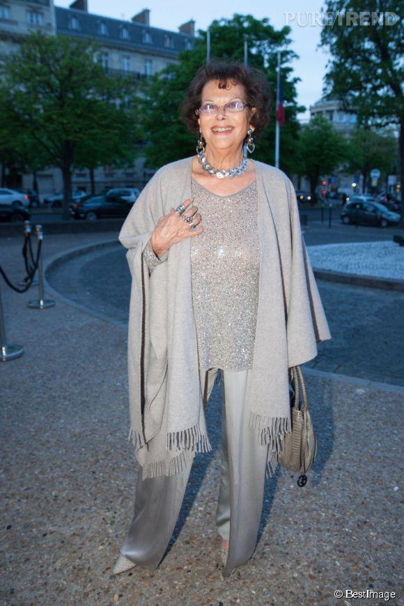 Claudia Cardinale au dîner en l'honneur de l'UNITAID à Paris en avril 2014.