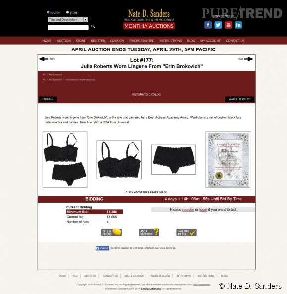 voici la page du site d 39 ench res nate d sanders qui propose les sous v tements port s par julia. Black Bedroom Furniture Sets. Home Design Ideas