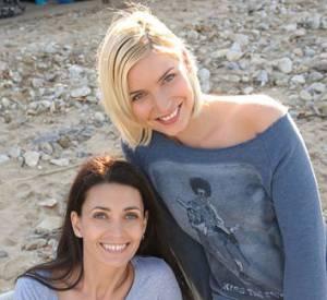 Adeline Blondieau et Nadège Lacroix sur le tournage de Sous le soleil de Saint Tropez.